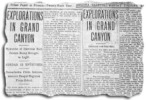 ARIZONA GAZETTE  MONDAY EVENING  APRIL 5, 1909  EXPLORATIONS IN GRAND CANYON Gc_1909Article