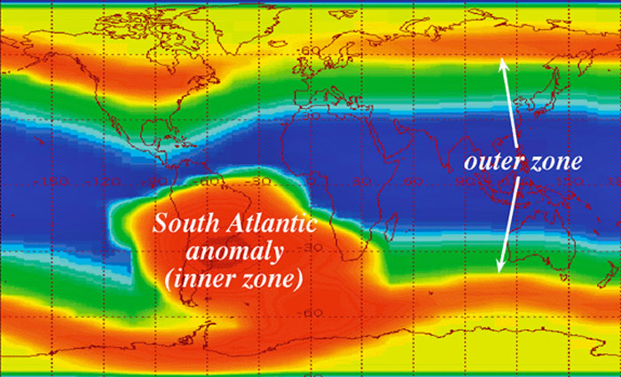Magnetic Anomaly Map Of The World.The South Atlantic Anomaly