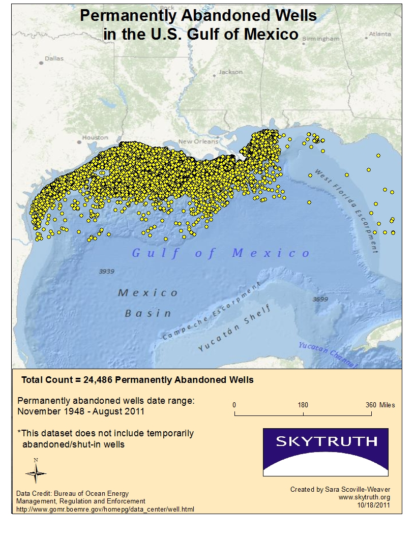 Oil Rigs In Gulf Of Mexico Map.Over 28 000 Abandoned Wells In The Gulf Of Mexico