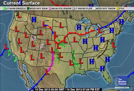 High Low Weather Map Us Map With High And Low Temperatures