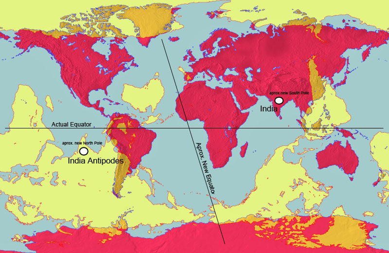 This World Map In Red Is Overlaid With An Antipodal Map In Yellow