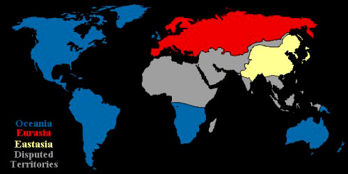 the three battling superstates in the world of 1984 Nineteen eighty-four (also titled 1984) one of the world's three intercontinental totalitarian super eastasia is the last of three superstates to be.