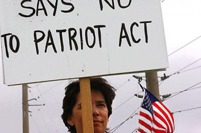 say no to patriot act poster banner placard