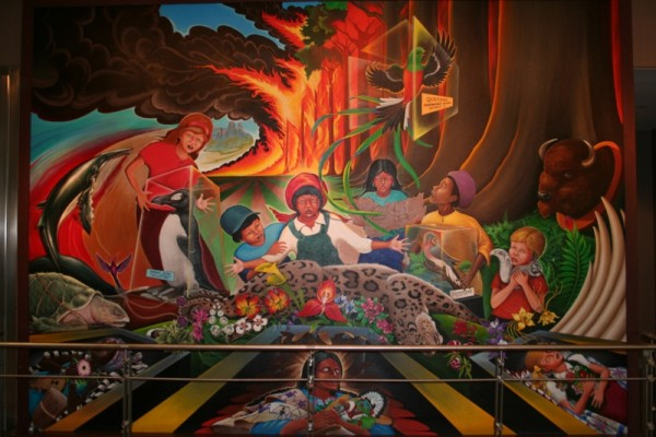 Sinister sites the denver international airport for Mural in denver airport