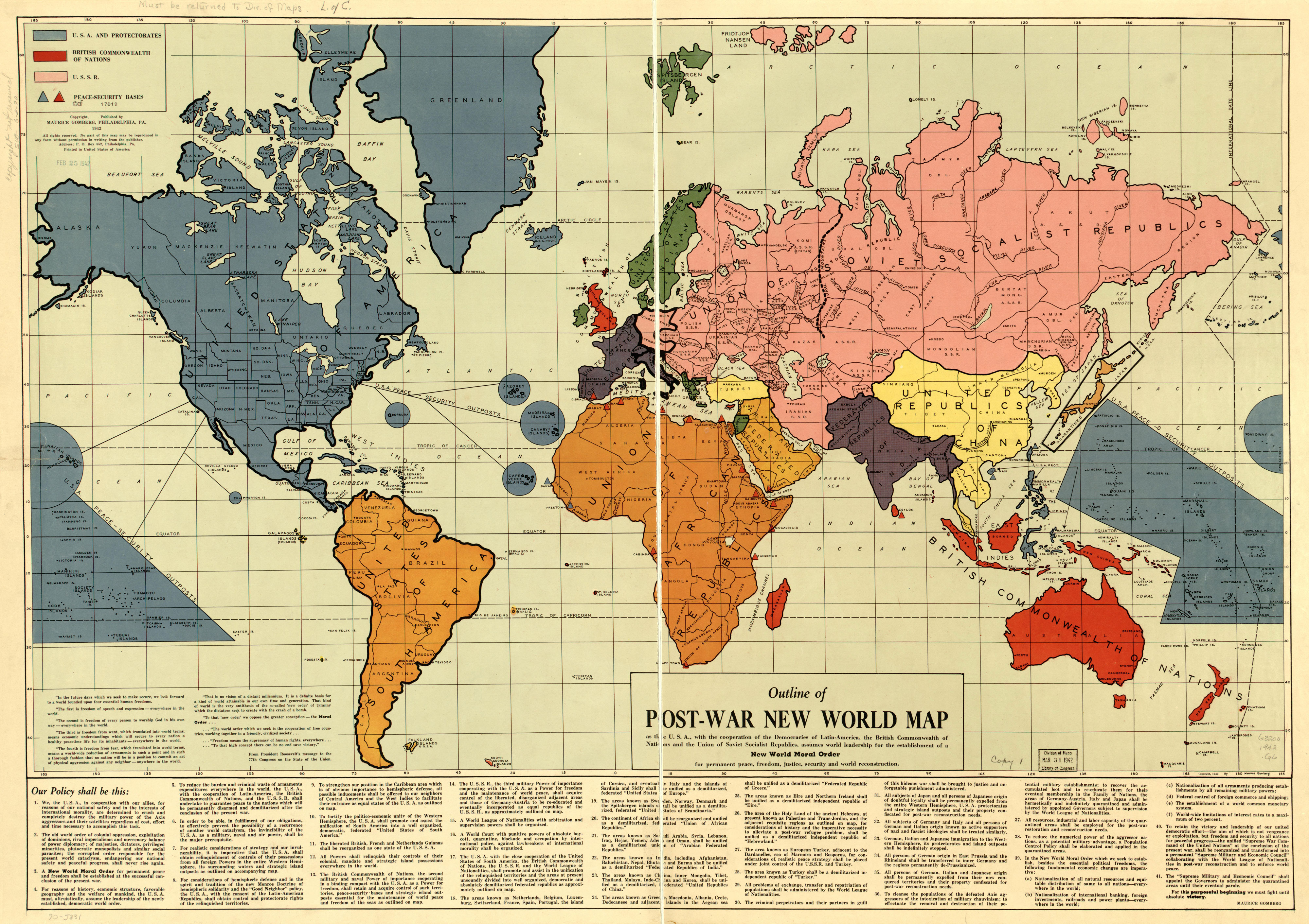 Map for A New World Order on 1941 Communist World Planning The