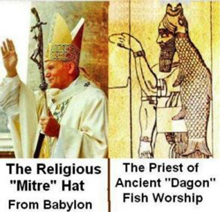 Why is the pope 39 s mitre shaped like a fish for The history of fish