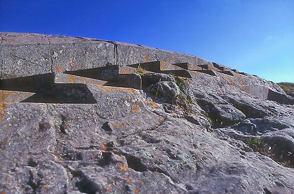 Terraces and steps prehistoric rock hewn structures at sacsayhuaman