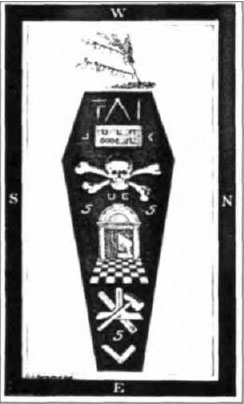 Image result for Masonic drawing of a Coffin with a Skull and Bones