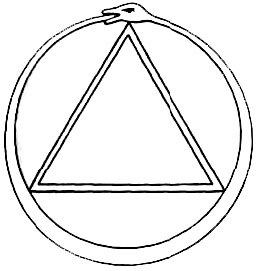 The triangle inside the serpentine circle represents the unholy ...