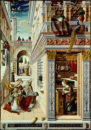 This painting, is by Carlo Crivelli, (1430-1495) called 'The Annunciation' (1486) now hangs in the National Gallery, in London. A disk shaped object is shining a pencil beam of light down onto the crown of Mary's head. (A Blow-up of the object is shown below this image of the painting.)